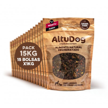 Pack 15 bags 1kg puppy wagyu without cereals