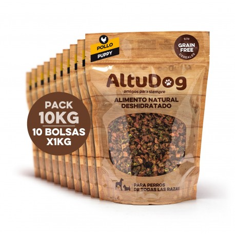 Pack 10 bags 1kg puppy chicken breast without cereals